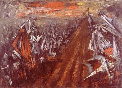 """Hans BurkhardtOne Way Roadoil on canvas22 x 31""""1945"""