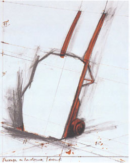 Christo Package on a Handtruck Project lithograph printed in color on white wove paper, mounted on museum board 28 x 22⅛ in. 1981