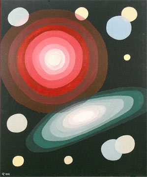 Oskar Fischinger Red + Green Concentric oil on canvas board 25 X 30 inches 1952
