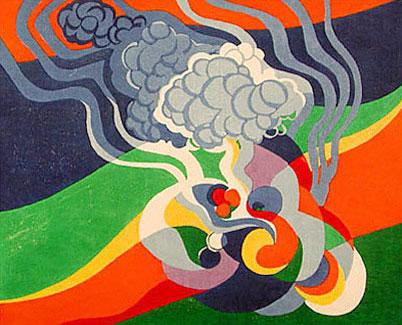 "Stanton Macdonald-WrightShikiNo. 17, Haiku Seriescolor woodcut16⅛ x 20""1966-67"